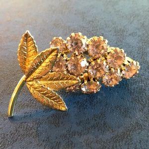 Vintage Gold tone grape brooch